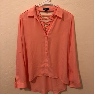 Coral button up top